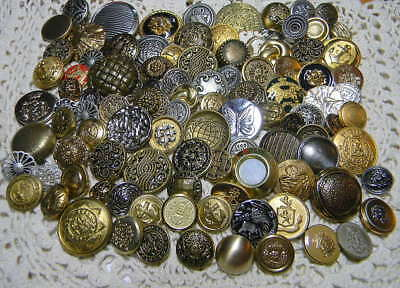 Assorted Vintage & NOS Metal Shank Buttons~102 Pieces~Brass,Gold,Silver (M24)
