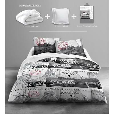 TODAY Pack Linge de lit adulte GOOD IDEA - 1 couette 220x240cm + 2 oreillers 60x