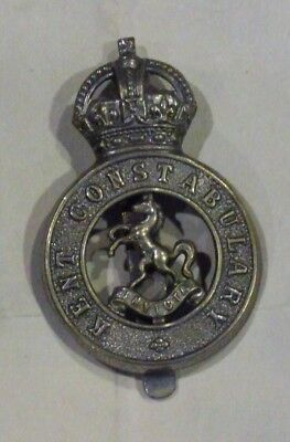 Kent Constables Sgt & Constables Cap Badge Worn mid 30s - 1953 bears Kings Crown