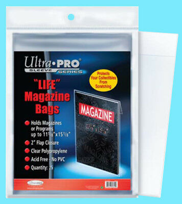 "25 ULTRA PRO LIFE MAGAZINE SIZE Storage BAGS New 11-1/8"" x 15-1/8"" Program Poly"
