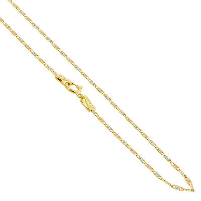 14k Three Tone Gold 1mm Valentino Chain Necklace #UN002