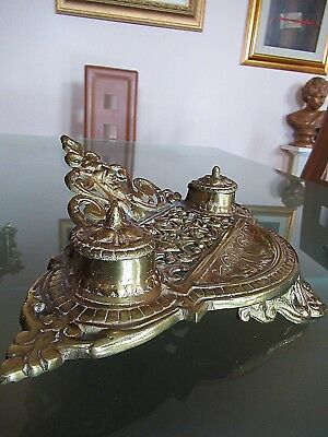 Vtg Antique Victorian Style Ornate Brass Inkwell W/ Inserts; Gargoyle Face