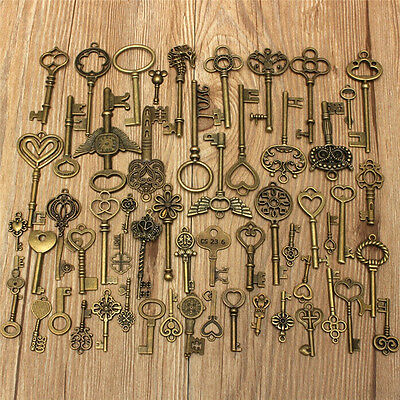 Set of 69 Antique Vintage Old Look Bronze Skeleton Key Fancy Heart Bow Pendant U