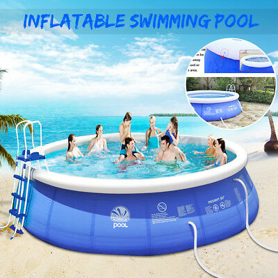 8-12 FT Large Inflatable Swimming Pool Family Garden Ground Set Children Kid AU