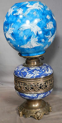Antique Victorian Aesthetic Brass Chinoiserie Porcelain Kerosene banquet Lamp
