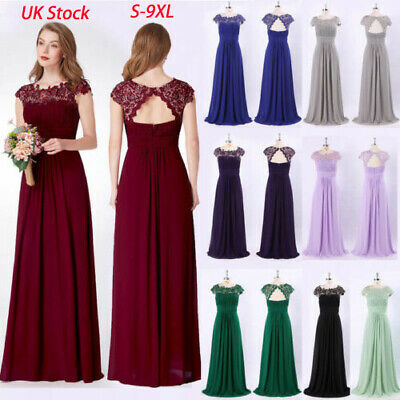 UK Ever-Pretty Lace Cap Sleeves Long Bridesmaid Dresses Wedding Prom Gowns 09993