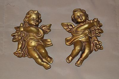 "Pr.Sm. 5"" x 4"" Vintage Gold/Brass/Bronze Syroco Angel/ Cherub Wall Accent/ Decor"