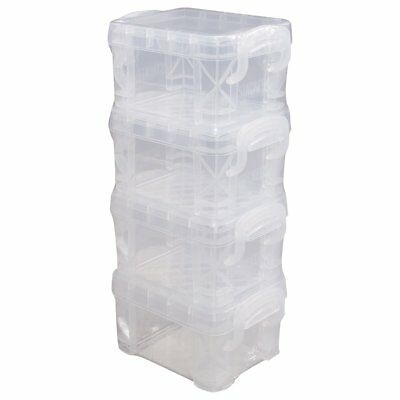 ADVANTUS Super Stacker Pixie Box, 4 Pack, Clear (40313)