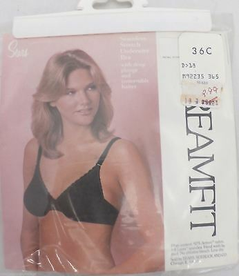 Vtg Dreamfit Covertable Bra Sears 36C Black Underwire Deep Plunge NOS Seamless