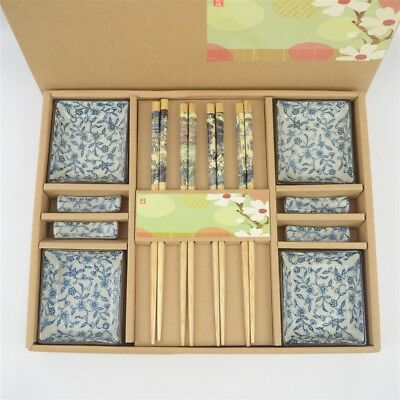 Vintage Chinese 4 Place Setting Chopsticks, Rests, and Bowl Box Set NIB
