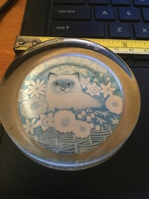 Vtg Sharon Jervis Paperweight Made in England- Kitty Cat