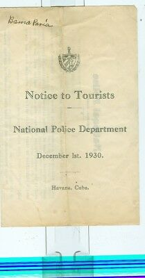 1930 Cuba National Police Notice to Tourists in Havana