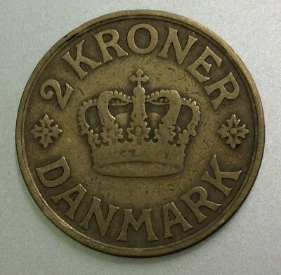 A Very Nicely Detailed 1925 Denmark 2 Kroner Coin