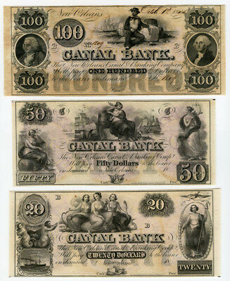 Us.1845-50 Obsolete $100,$50 & $20 Canal Bank New Orleans Lot Of 3 Unc Banknotes