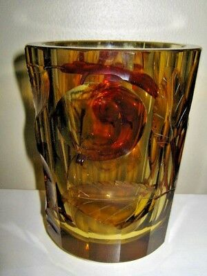 "vintage amber cut crystal Czech Bohemian 5"" vase in the style of Moser"