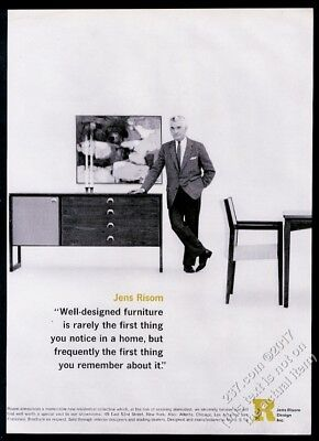 1963 Jens Risom photo with modern cabinet table chair JRD vintage print ad
