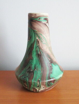 "Painted Desert Pottery Swirl Ware Vase Matte Brown Green Signed 6 1/4"" USA"