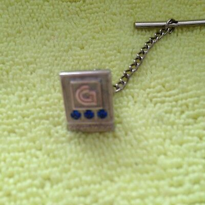 Guide Lamp General Motors Anderson Indiana Tie Tac, 3 Blue Stones