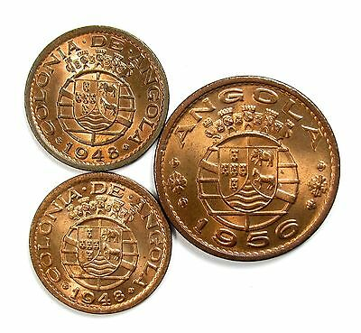 Lot of 3 1948 1956 Angola Bronze 1 Escudo KM 76 & 20 Centavos KM 21 #98124 X R