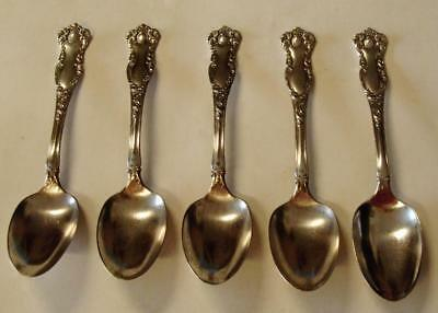 Antique 1901 Oxford Pattern ~5 Tea Spoons ~ Flatware-Silver Plate WM Rogers