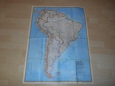 """Old Vtg 1972 SOUTH AMERICA  WALL MAP 22""""x 30"""" Hanging Decor"""