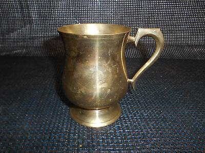 Old Vtg BRASS Gold METAL BEER STEIN TANKARD Mug Cup Glass