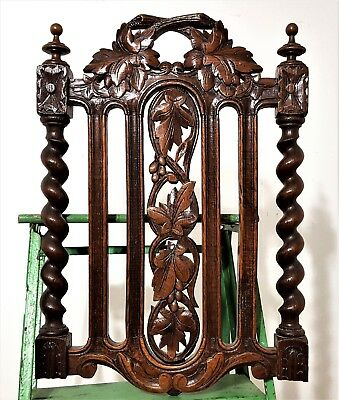 Hand Carved Wood Panel Antique French Oak Carving Sculpture Salvaged Ornament 3