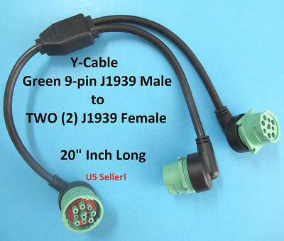 New 9 Pin Green J1939 Deutsch Y Cable Heavy Duty Commercial 1 Male to 2 Female