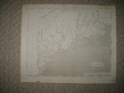 Early Important Antique 1805 Maine Copperplate Arrowsmith And Lewis Map Portland