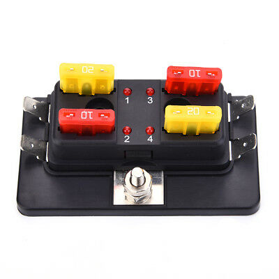 DC 32V 4 Way Blade Fuse Box Holder Car Bus Bar With LED Failure Warning Lights