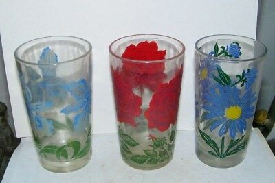 3-peanut butter glasses-3 roses--blue flower/yellow middle Daisy -blue Orchid