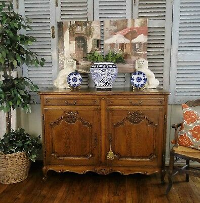 Antique French Country Buffet Sideboard Server Beautifully Carved Orig Hardware