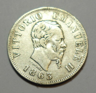 Italy  50 Cent  1863. 0.900 Silver