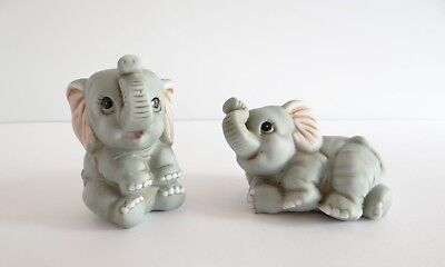 Homco Gray Baby Elephant Figurines Set of 2 #1400