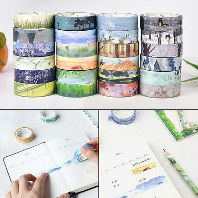 Chinese 24 Solar Terms Scenery Washi Masking Tapes DIY Diary Room Decor Craft BD