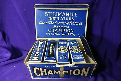 VINTAGE OLD CHAMPION SPARK PLUGS Box Used FORD Supeior Cross Country
