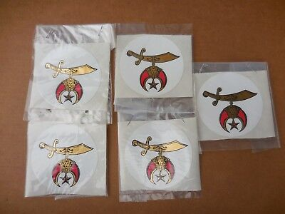"Shriners Nos Vintage 3"" Stickers Lot Of 5"