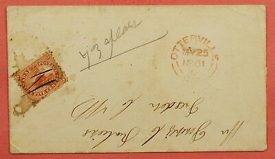 5C Beaver On 1861 Canada Cover Otterville Cw Cancel