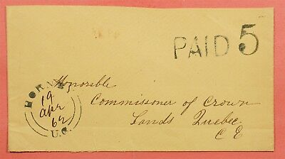 1862 Canada Stampless Cover Large Paid 5 Hornby Uc Cancel
