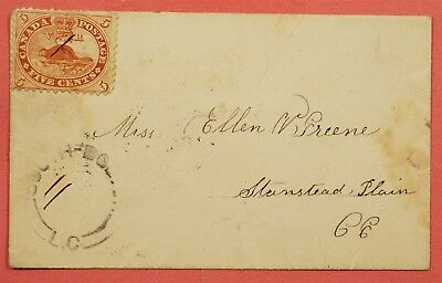 5C Beaver On 1864 Canada Cover Lc Cancel To Stanstead Ce Back Cancel