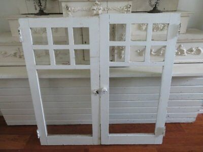AWESOME PAIR Old Architectural WINDOWS White Wood Frames 7 Panes Each WALL DECOR