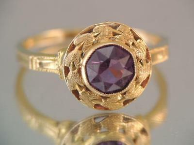 Vintage Art Deco Solid 10K Gold Amethyst Stone Ring Ornate Flower Design