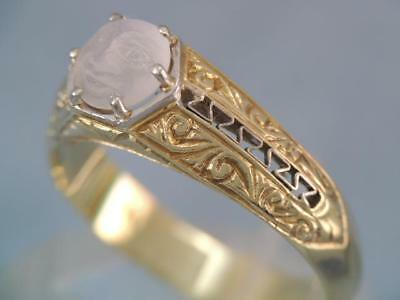 Rare Antique Art Nouveau 14K Solid Gold Carved Face Moonstone Ring Gorgeous Look