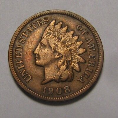 1908 S Indian Head Cent Penny - Very Fine Condition - 35SA-2