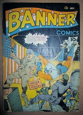 Banner 4 RARE 1941 FLAG-BURNING NAZIS COVER Ace WWII Comic War Violence & Heroes