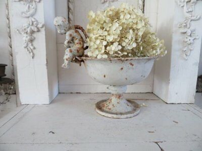 THE BEST Old Cast Iron METAL PLANTER URN with CHERUB Chippy WHITE Patina