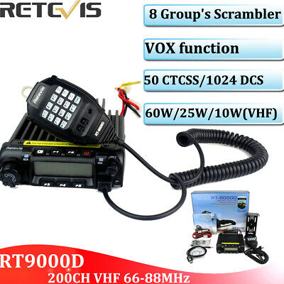 Retevis RT-9000D VHF 66-88MHz Mobile Car Ham Radio 200CH 50CTCSS 60W  8 Group's