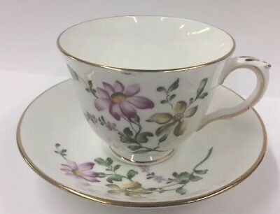 Vtg Crown Staffordshire Fine Bone China Tea cup & Saucer Purple Yellow Flowers