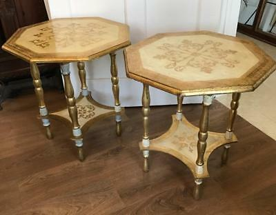 Pair Chic Shabby Vintage ITALIAN Florentine WOOD Painted Gilt Tiered End TABLES