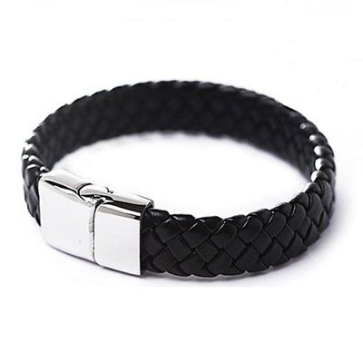 Men Punk Stainless Steel Leather Clasp Cuff Braided Wristband Bangle Bracelet